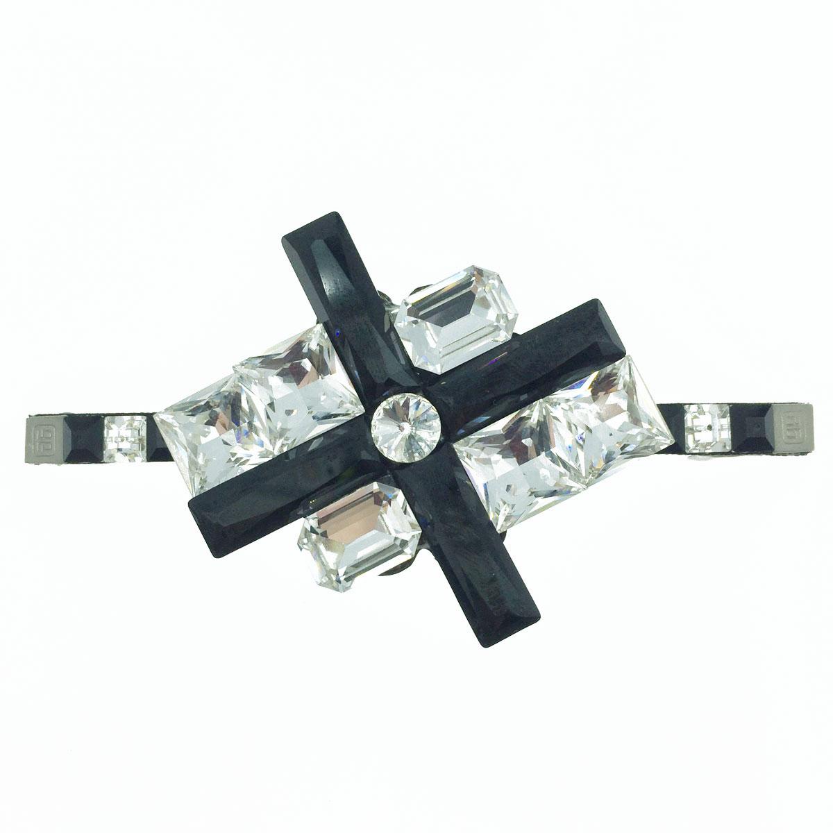 黑叉叉 白水晶 方形邊 黑白配色 髮飾 髮夾 自動夾 採用施華洛世奇水晶元素 Crystals from Swarovski
