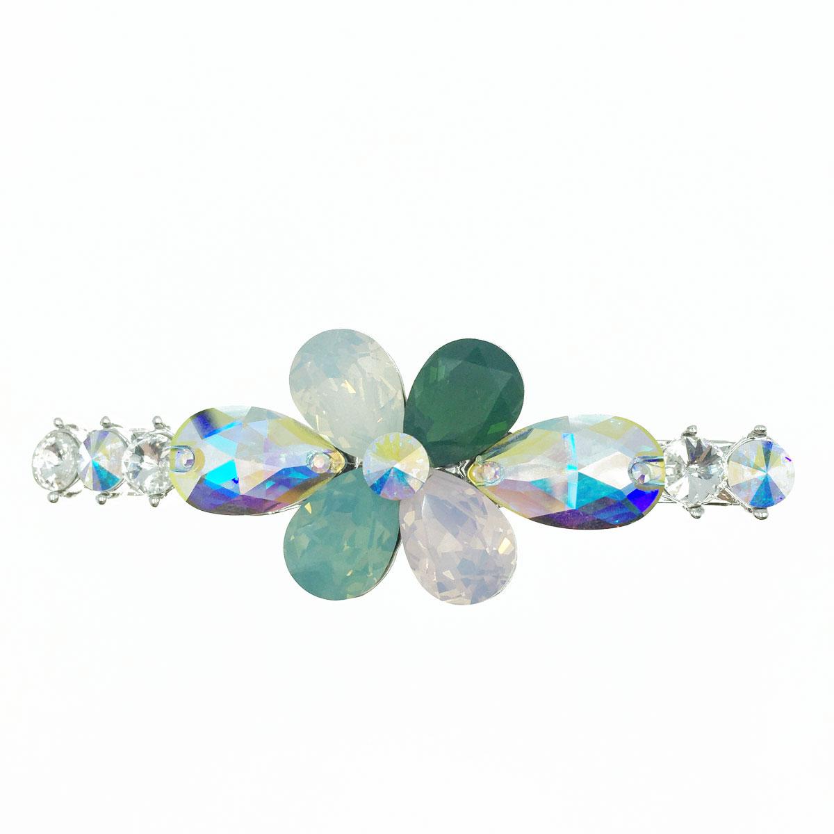 長形花瓣花朵 圓形邊 水晶 水鑽 髮飾 髮夾 自動夾 採用施華洛世奇水晶元素 Crystals from Swarovski