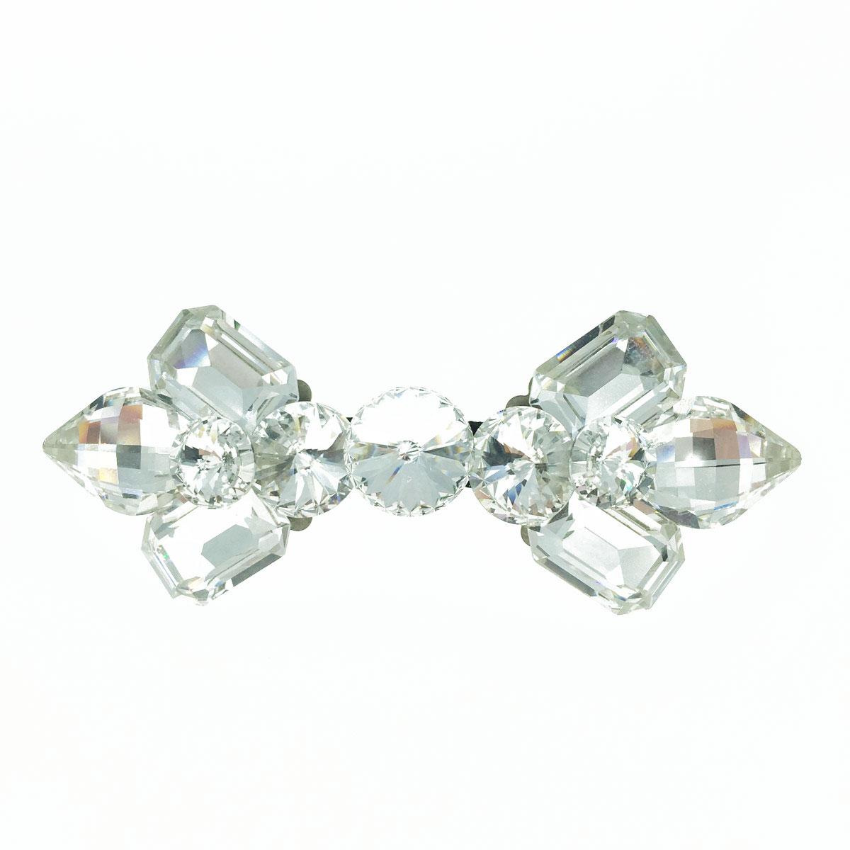 蝴蝶結 水晶 水鑽 白鑽 氣質款 髮飾 髮夾 自動夾 採用施華洛世奇水晶元素 Crystals from Swarovski