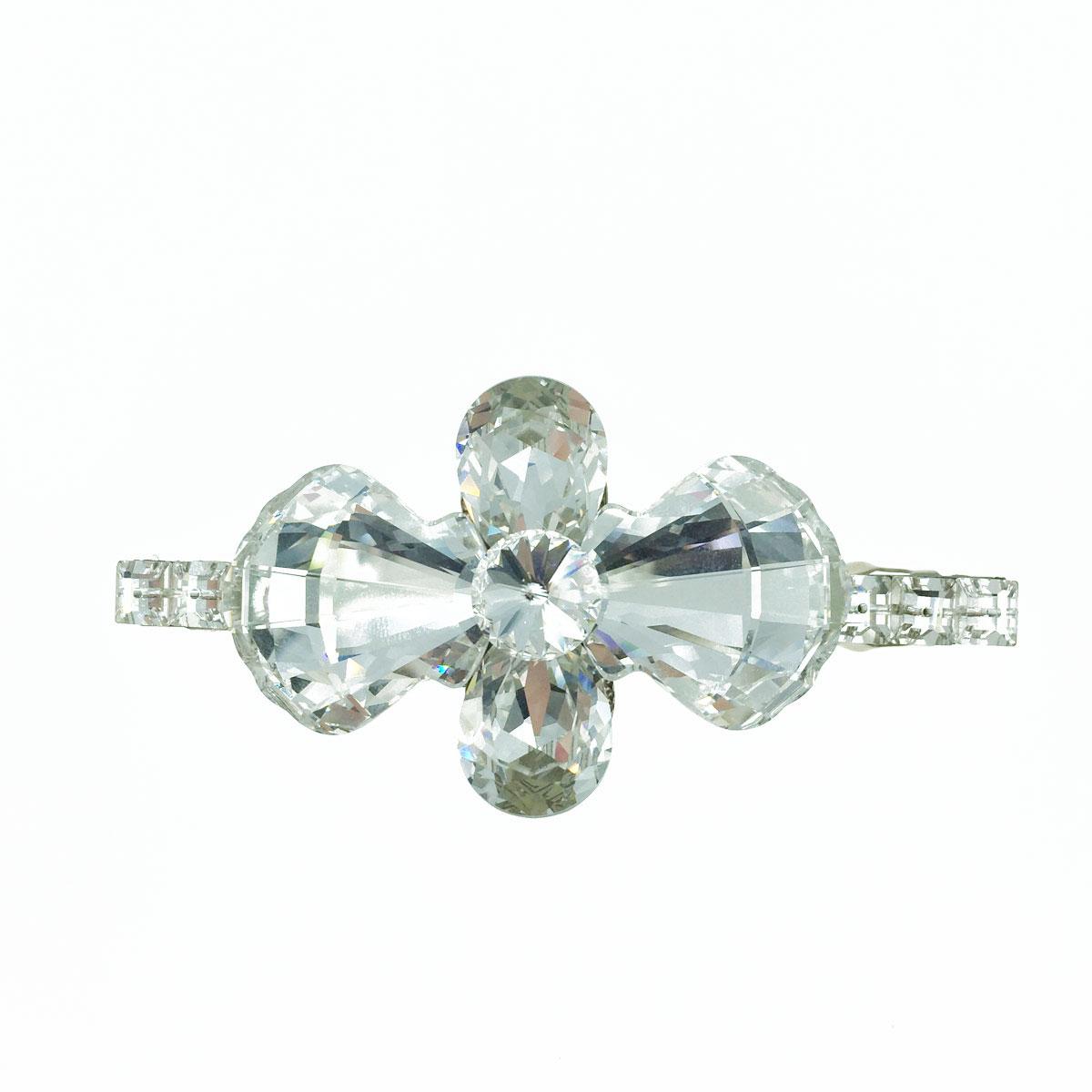 貝殼造型 蝴蝶結 方形 白鑽 水鑽 水晶 髮夾 自動夾 採用施華洛世奇水晶元素 Crystals from Swarovski