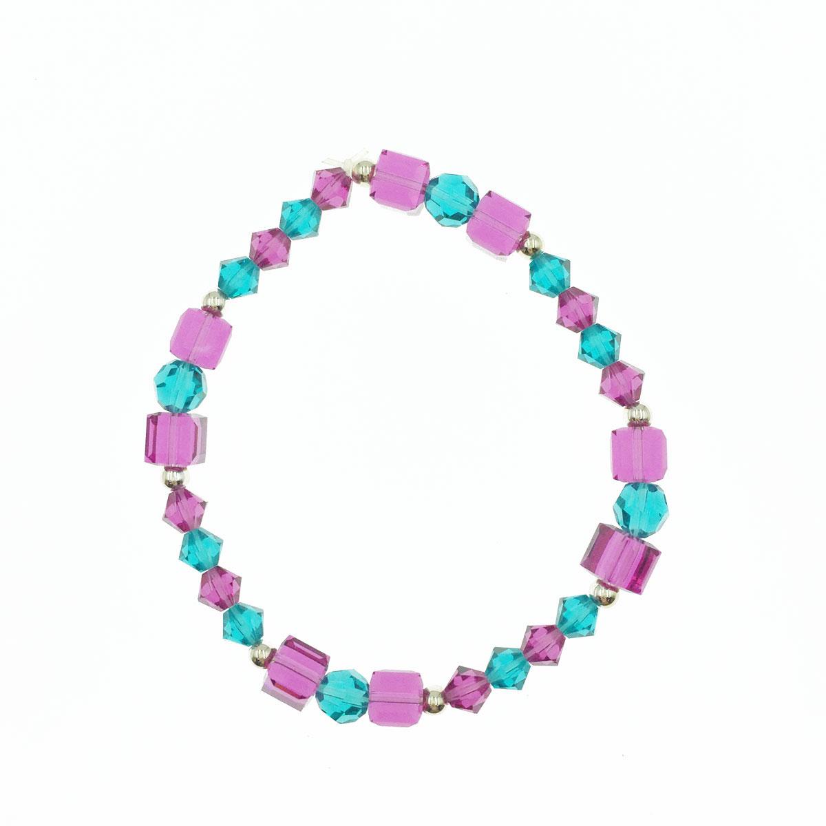方塊 珠珠 小圓珠 桃紫色交替藍綠色 彈性線 手鍊 採用施華洛世奇水晶元素 Crystals from Swarovski