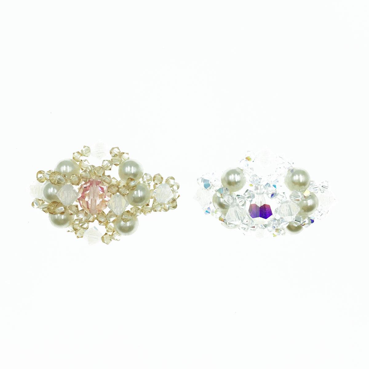 雙排珍珠 蛋白色 水晶 彈性線 戒指 採用施華洛世奇水晶元素 Crystals from Swarovski