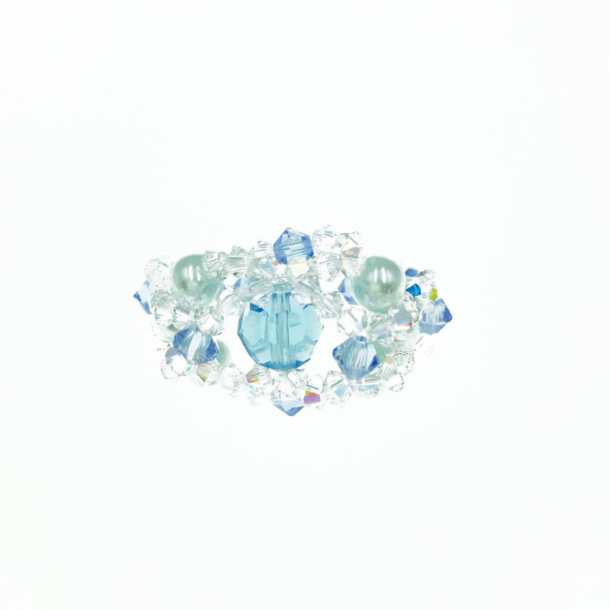藍色系 珍珠 水晶 彈性繩 戒指 採用施華洛世奇水晶元素 Crystals from Swarovski
