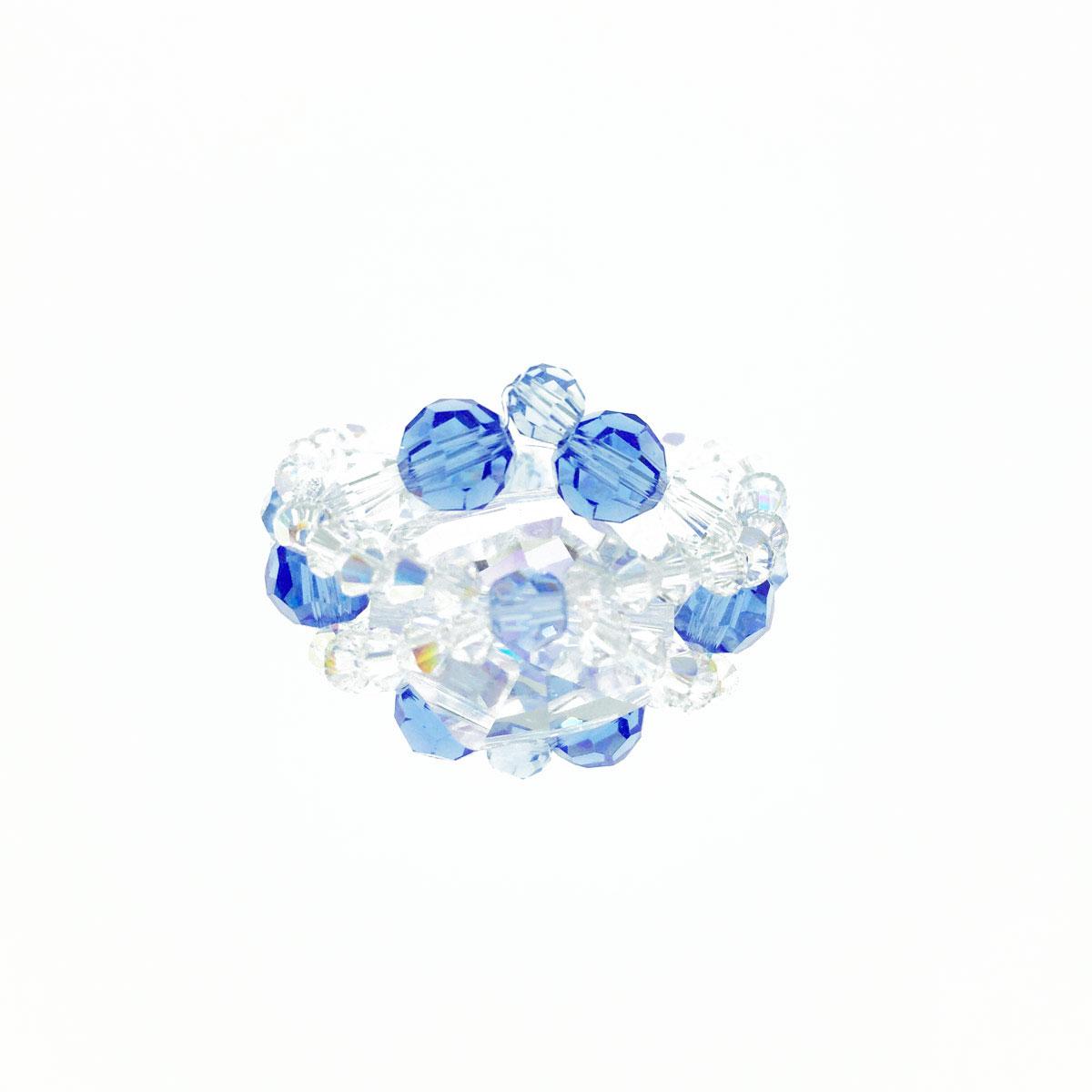 深藍色系 環繞交叉 彈性線 戒指 採用施華洛世奇水晶元素 Crystals from Swarovski