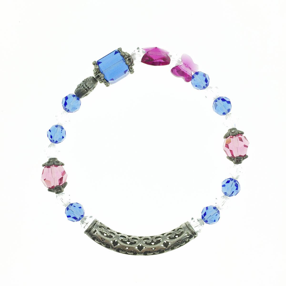 金屬簍空弧環 蝴蝶 方塊 水晶 配色 彈性線 手鍊 採用施華洛世奇水晶元素 Crystals from Swarovski