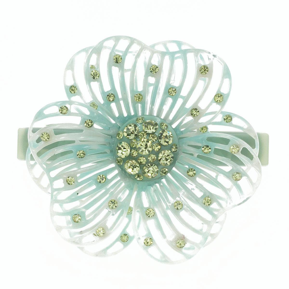 大花朵 雙層 簍空 大理石紋 鑲鑽 水鑽 髮飾 髮夾 自動夾 採用施華洛世奇水晶元素 Crystals from Swarovski