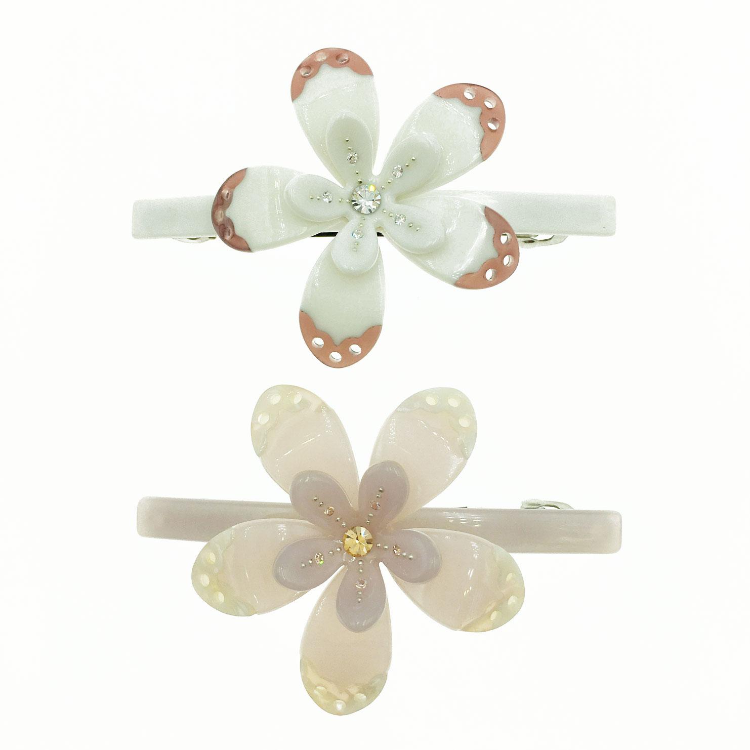 配色雙層花朵 水鑽 花邊洞洞 髮飾 髮夾 自動夾 採用施華洛世奇水晶元素 Crystals from Swarovski
