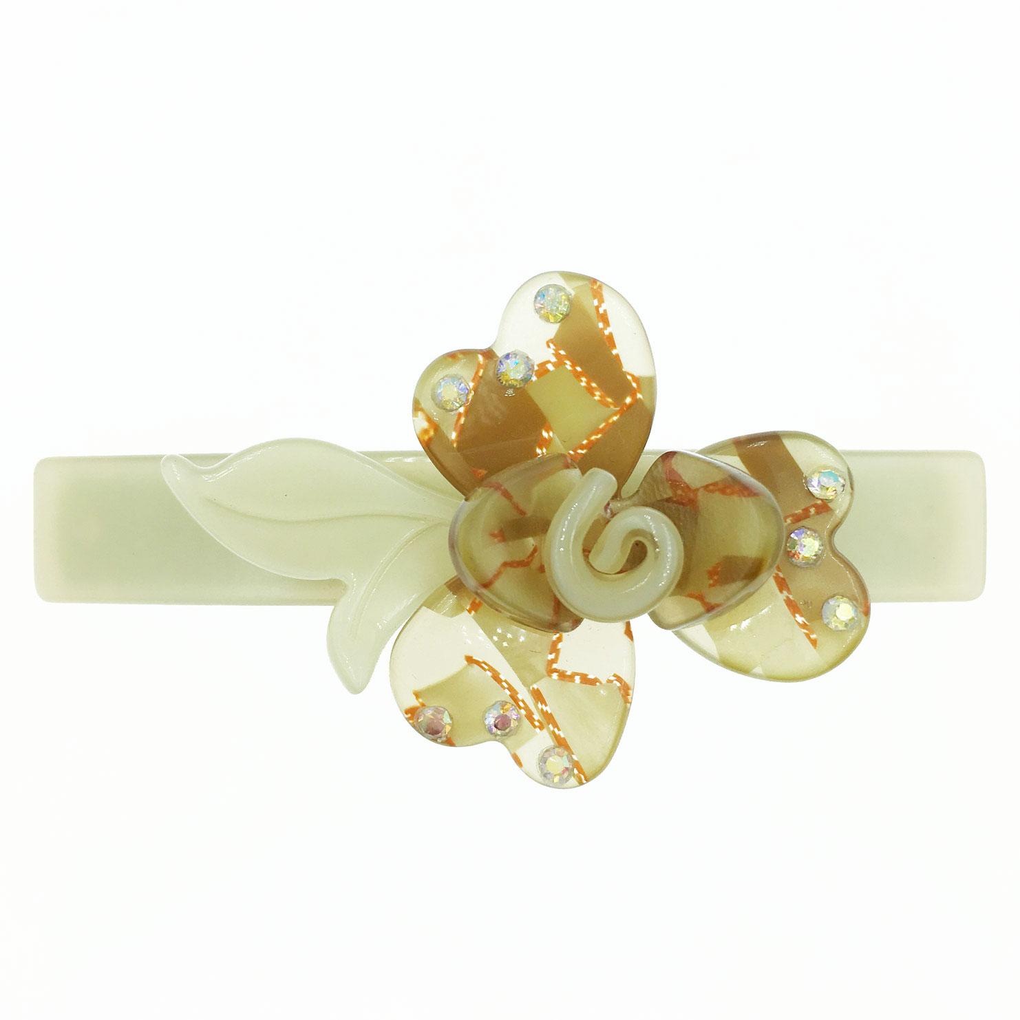 花朵 花瓣紋路 水鑽邊 彩鑽 咖色 髮飾 髮夾 自動夾 採用施華洛世奇水晶元素 Crystals from Swarovski