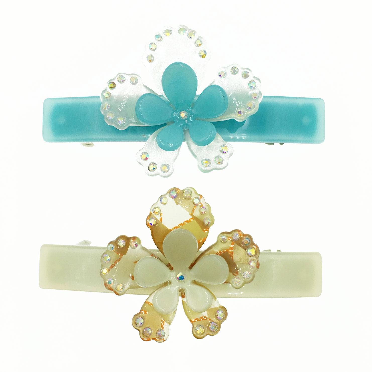 配色雙層花朵 水鑽花邊 髮飾 髮夾 自動夾 採用施華洛世奇水晶元素 Crystals from Swarovski