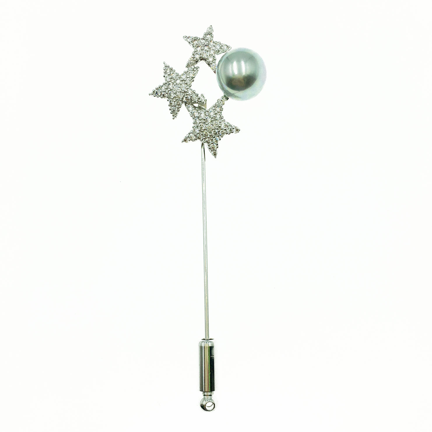韓國 三星灰珍珠 水鑽 管塞 銀色 別針 胸針 採用施華洛世奇水晶元素 Crystals from Swarovski