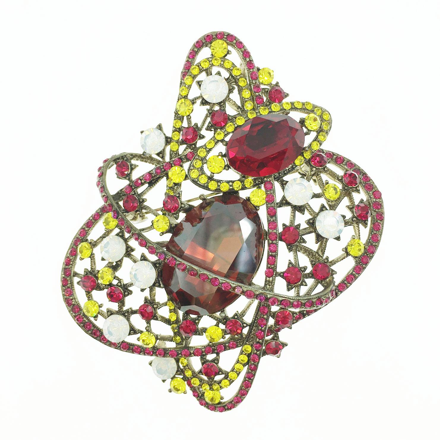 鮮豔宇宙行星 環繞 水晶 水讚 古銅色 別針 胸針 採用施華洛世奇水晶元素 Crystals from Swarovski