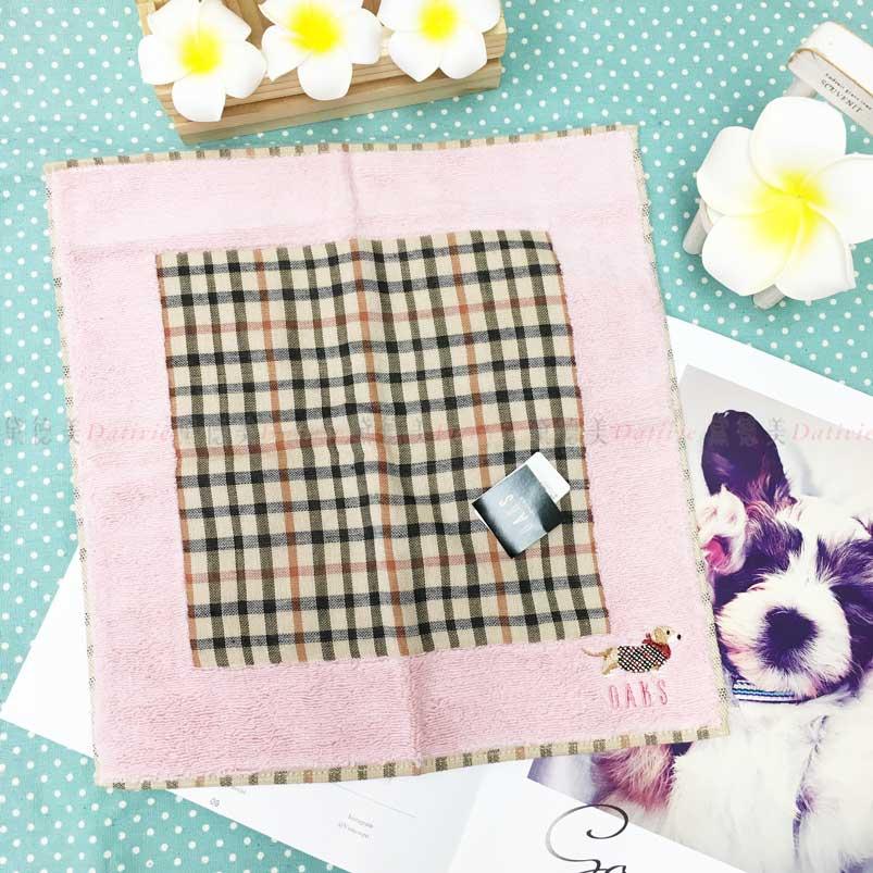 日本製 手帕 DAKS 刺繡 小狗 格紋 小方巾 優雅 親膚 純棉 日本手帕