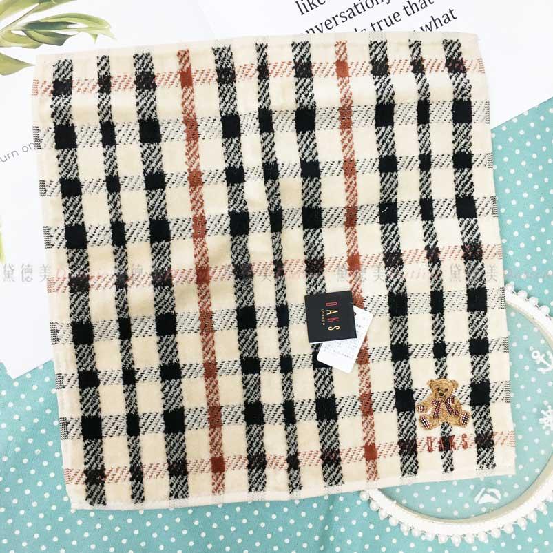 日本製 手帕 DAKS 刺繡 小熊 棋盤 格紋 小方巾 優雅 親膚 純棉 日本手帕