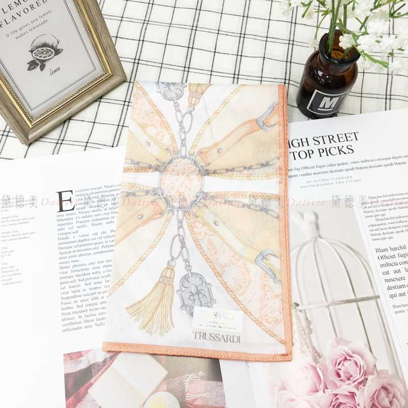 日本製 手帕 TRUSSARDI 鎖鏈紋 流蘇 吊牌 小方巾 領巾 優雅 親膚 純棉 日本手帕