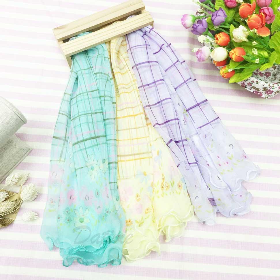 格子 格紋 小花框 荷葉邊 可愛風 親膚 領巾 薄絲巾