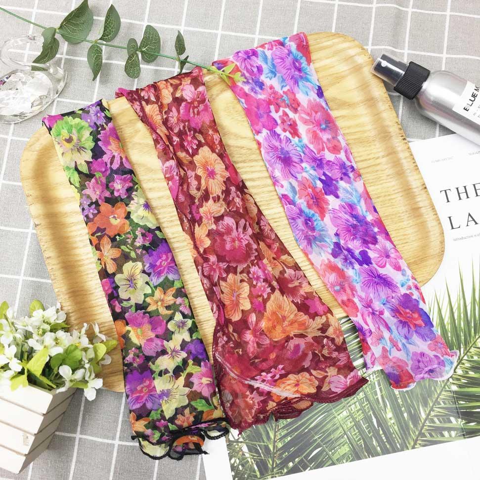 繽紛花朵 滿版 荷葉邊 鮮豔款 親膚 領巾 薄絲巾