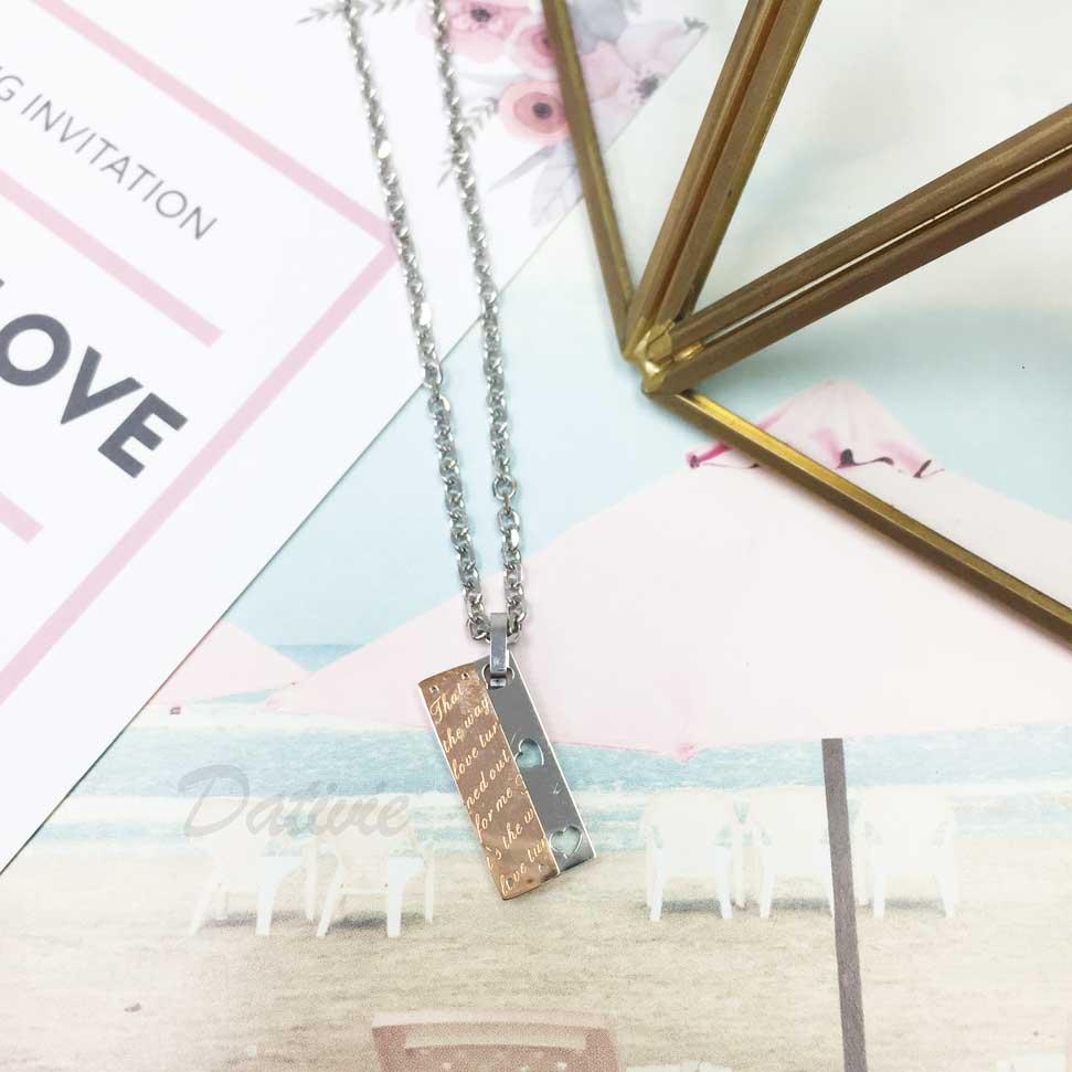 韓國 不鏽鋼 刻字(愛的詩篇) 側邊簍空愛心 玫瑰金 項鍊