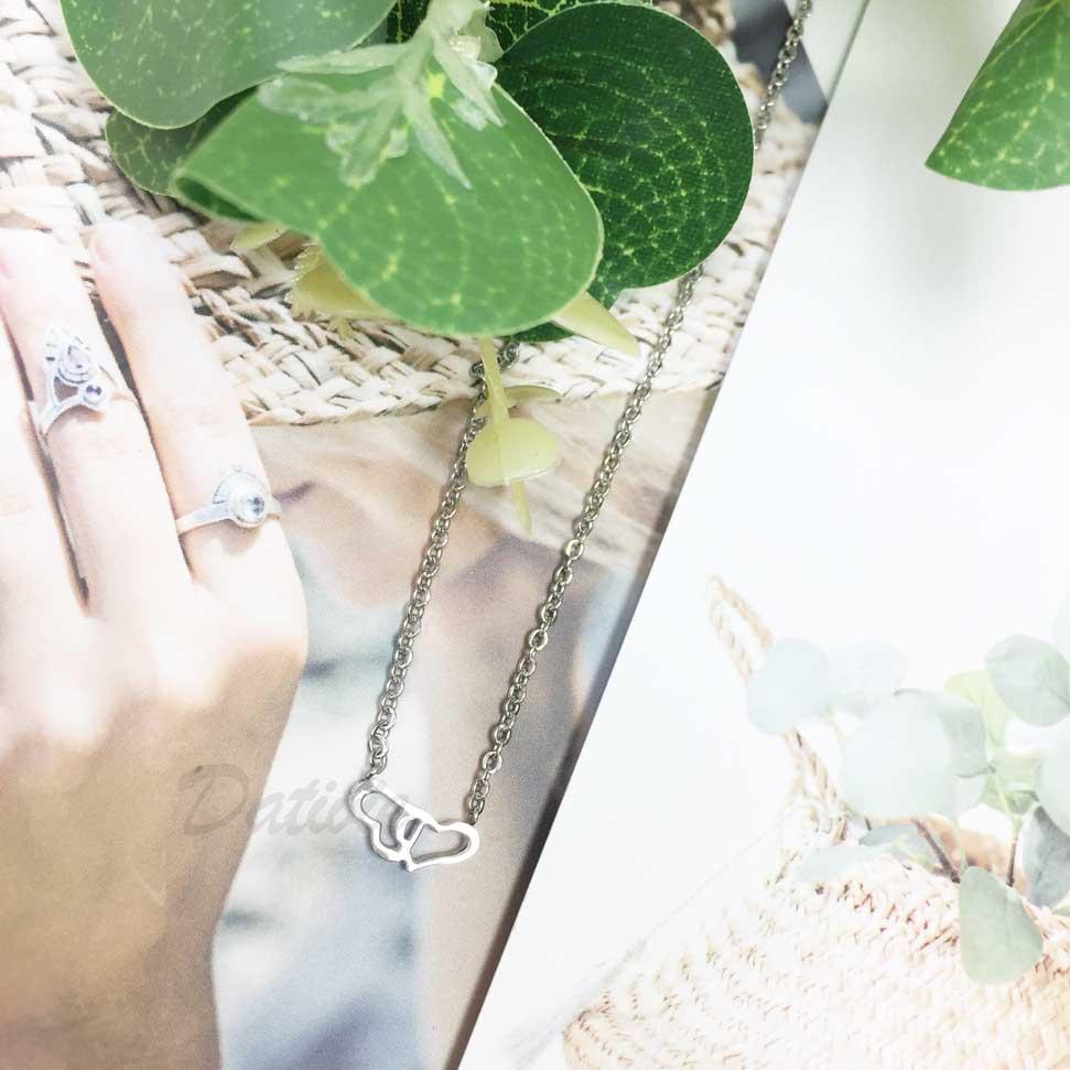 韓國 不鏽鋼 簡約 簍空愛心 心心相印 項鍊