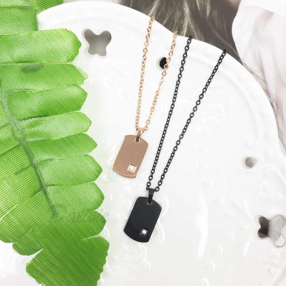 韓國 不鏽鋼 吊牌 單鑽 玫瑰金 黑 項鍊