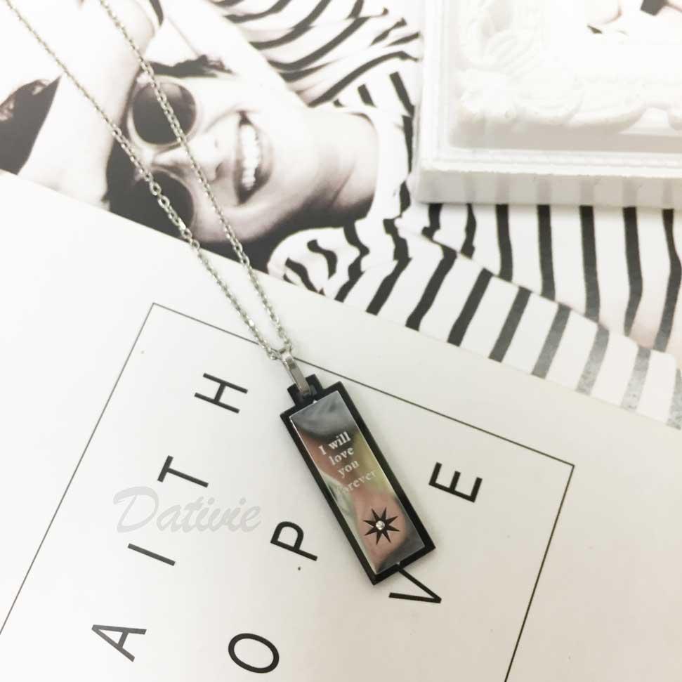 韓國 不鏽鋼 刻字 (我會永遠愛你) 星芒 鑲鑽 黑邊 項鍊