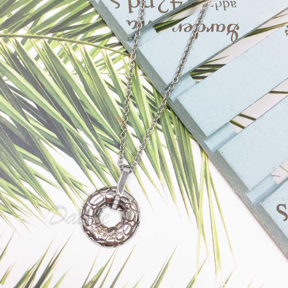 韓國 不鏽鋼 摟空圓圈 蛇紋 鑲鑽 項鍊