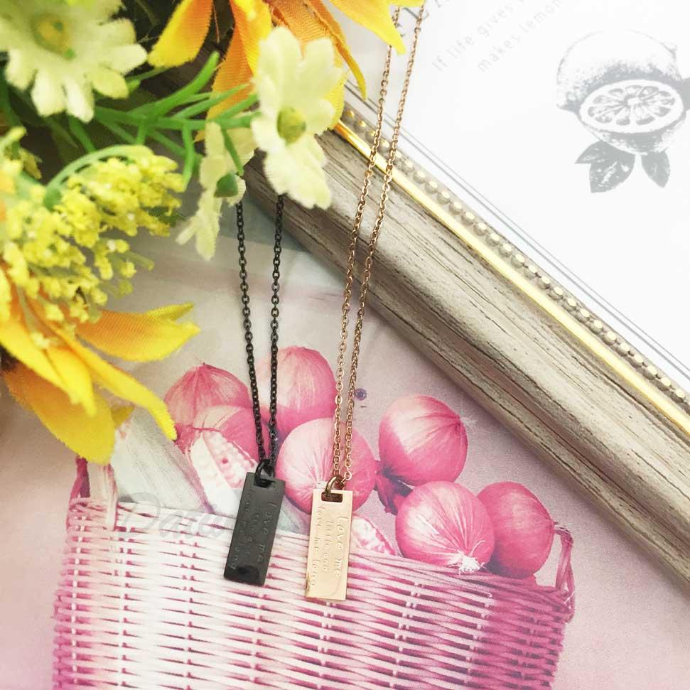 韓國 不鏽鋼 吊牌 刻字 (細水長流的愛) 玫瑰金 黑 項鍊