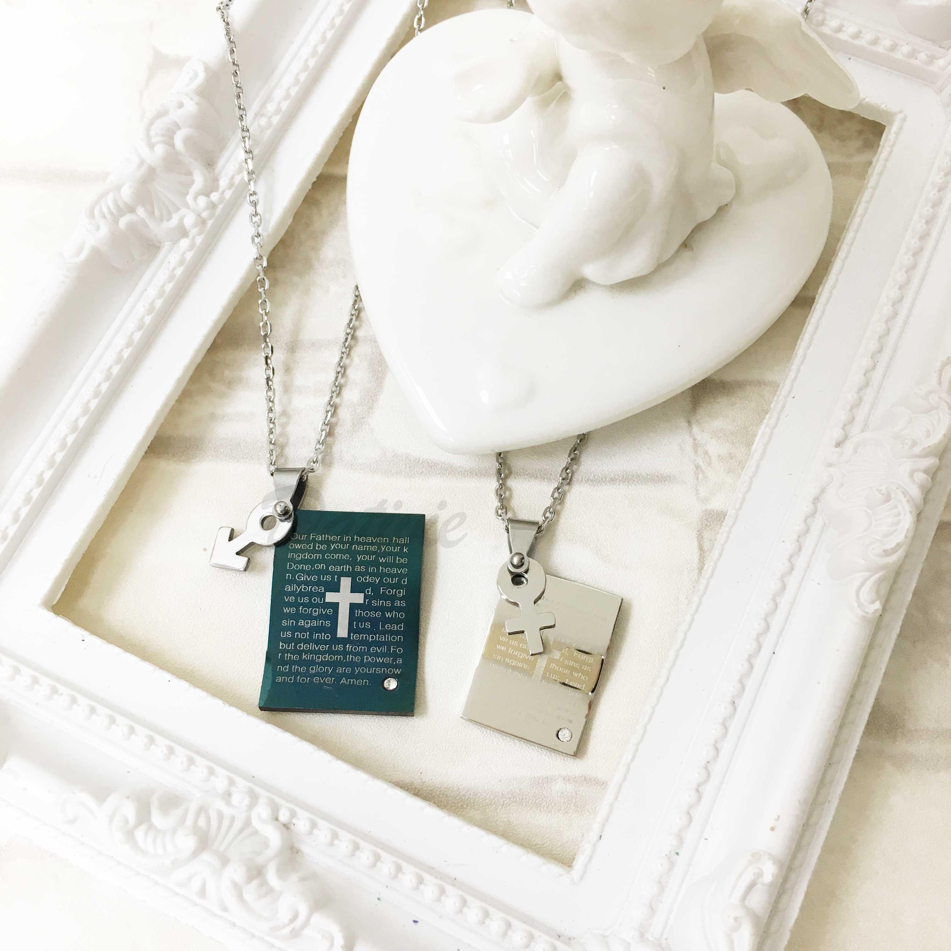 不鏽鋼 波浪吊牌刻聖經十字架 男女標示 鑲單鑽 項鍊