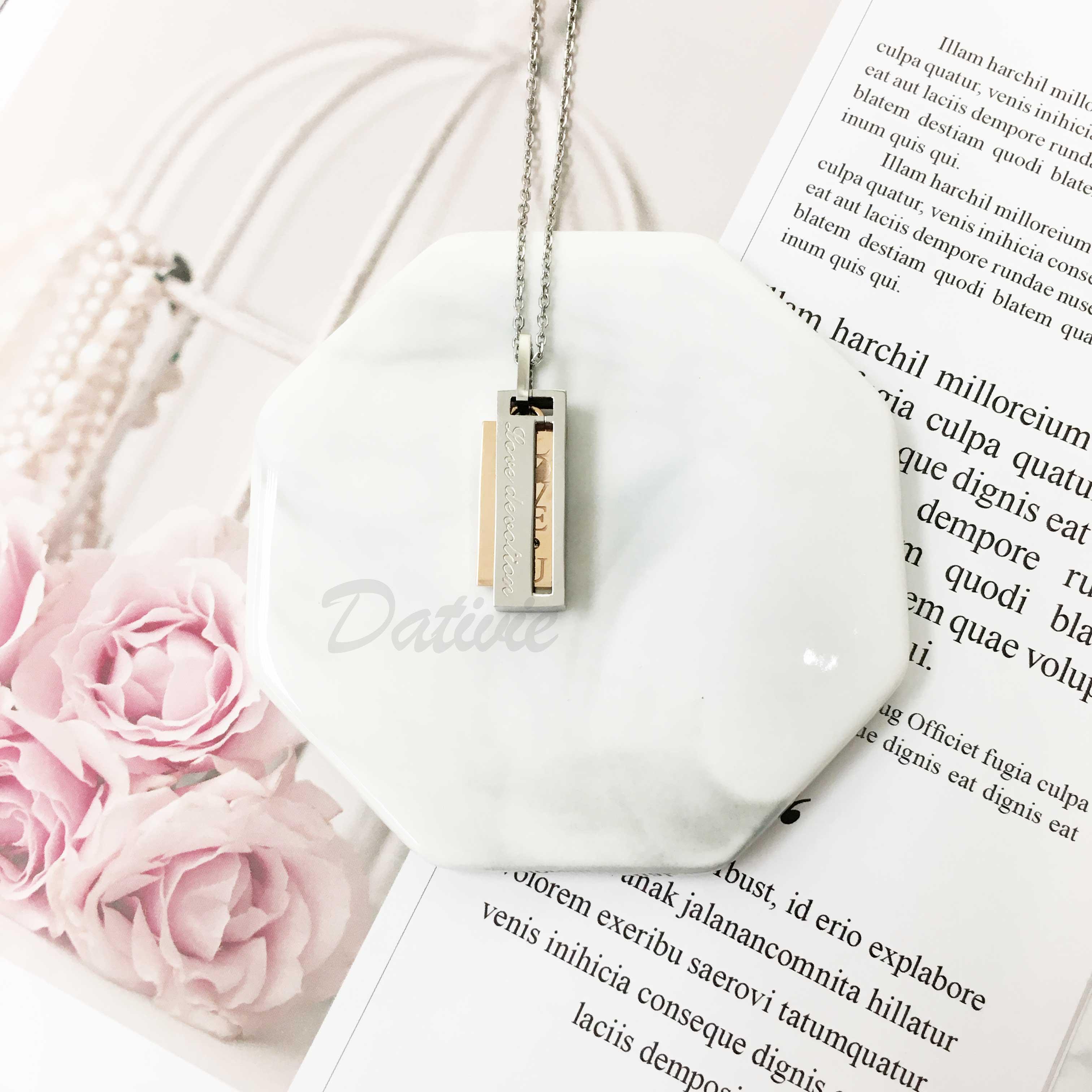 不鏽鋼 刻字(忠誠的愛) 夾活動玫金色吊牌刻字(愛你) 鑲單鑽 項鍊