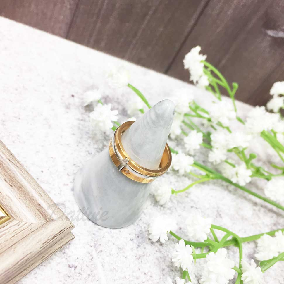 不鏽鋼 銀邊 小水鑽 金色 手飾 戒指