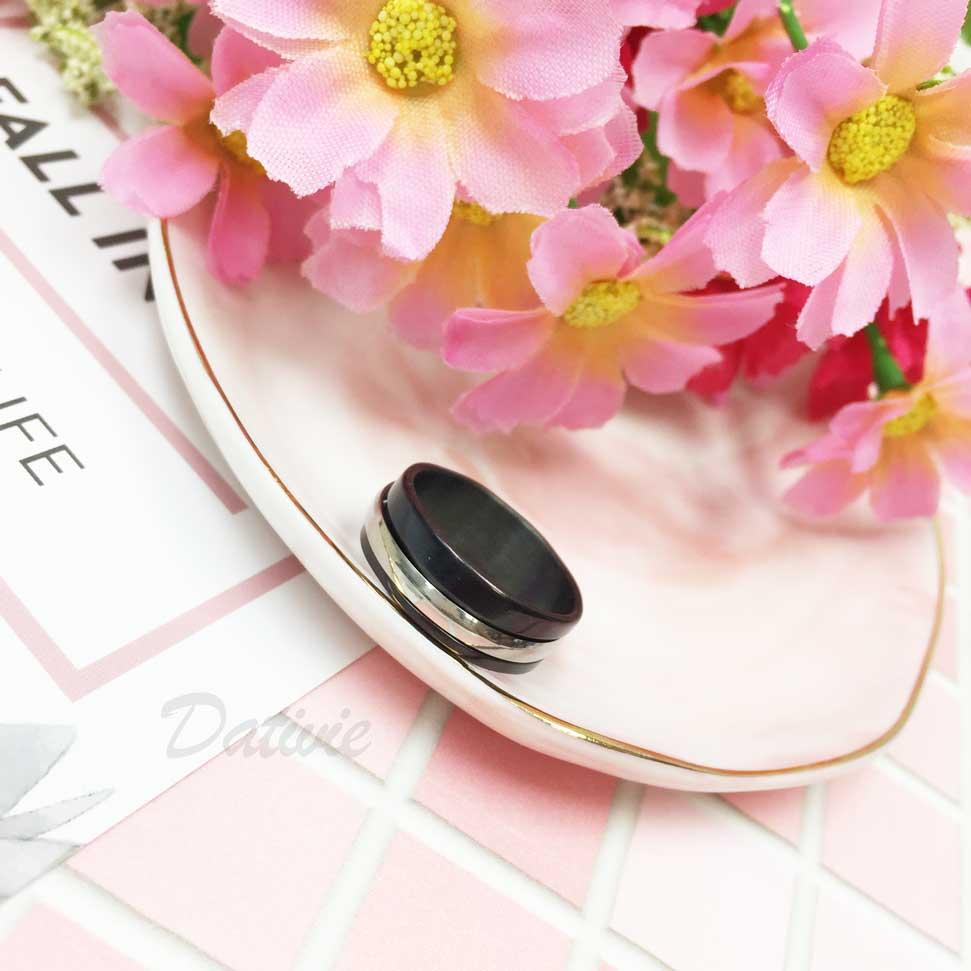 不鏽鋼 銀環 可動式 黑色 手飾 戒指