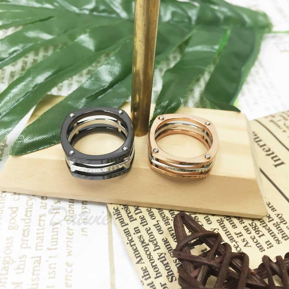 不鏽鋼 彈簧造型 (預測) 印字 黑色 玫瑰金 手飾 對戒 戒指