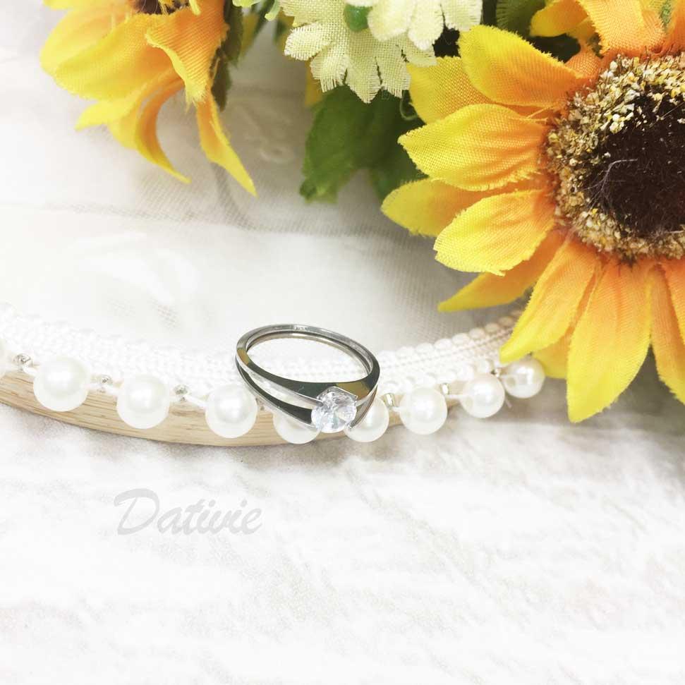 不鏽鋼 簍空 雙環 圓鑽 水鑽 銀色 手飾 戒指