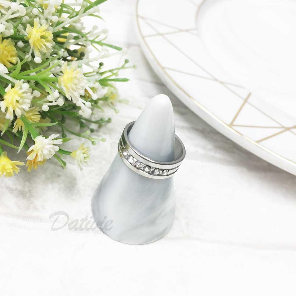 不鏽鋼 線條 排列水鑽 白鑽 銀色 手飾 戒指