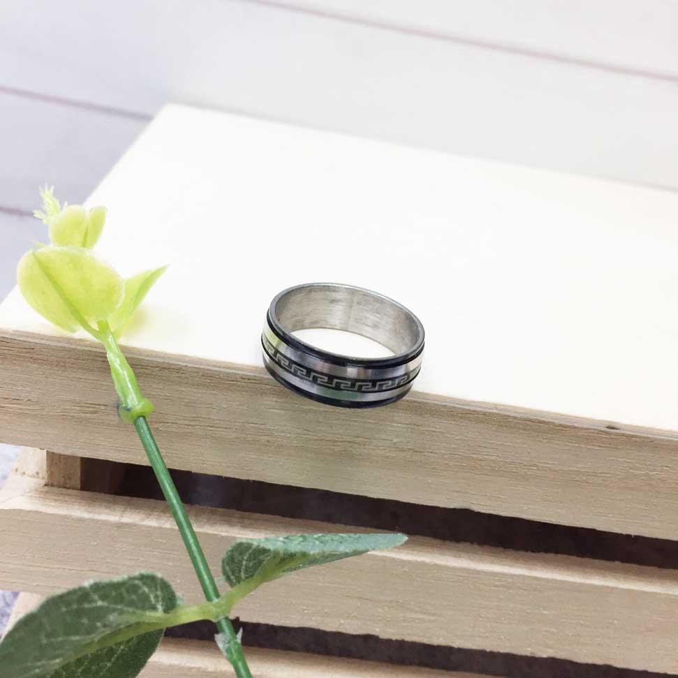 不鏽鋼 黑邊 圖案 中國風 銀色 手飾 戒指