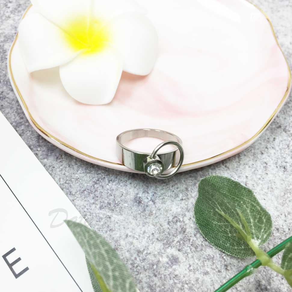 不鏽鋼 可動圓環 鑲鑽 水鑽 銀色 手飾 戒指