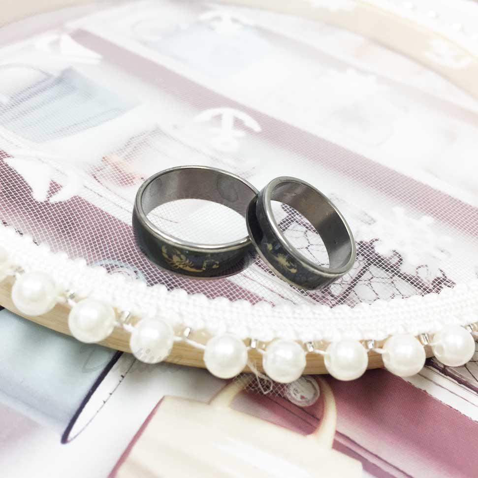 不鏽鋼 黑底 蠍子 大小 趣味風 銀色 手飾 對戒 戒指