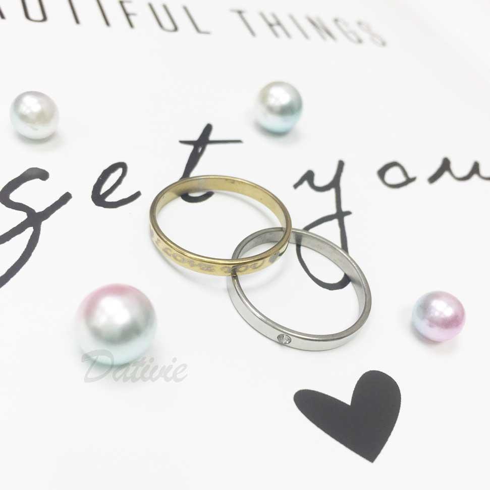 不鏽鋼 (我愛你) 印字 愛心 金色 水鑽 銀色 二入組 手飾 戒指