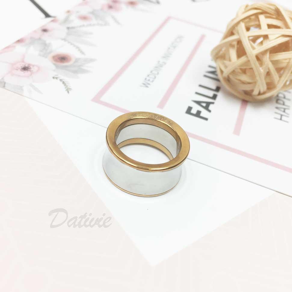 不鏽鋼 亮面銀色 寬版 玫瑰金邊 手飾 戒指