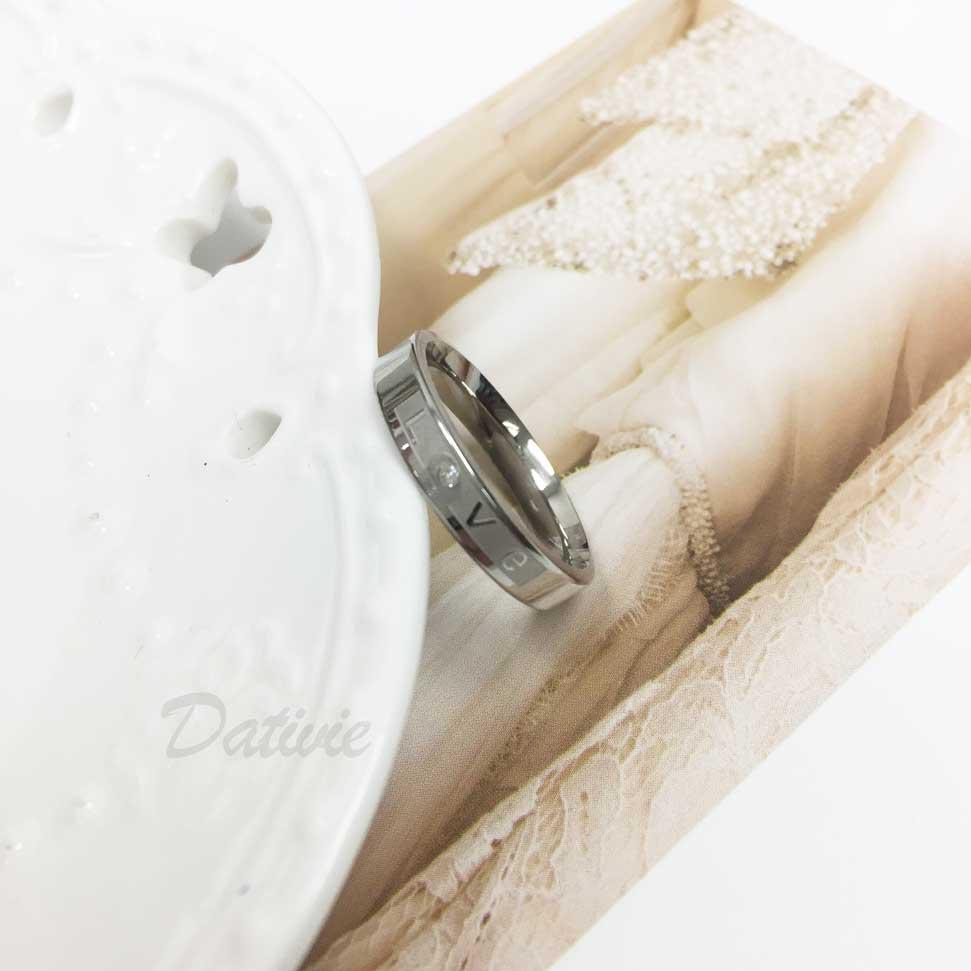 不鏽鋼 霧面底 LOVE 刻字 鑲鑽 水鑽 手飾 戒指