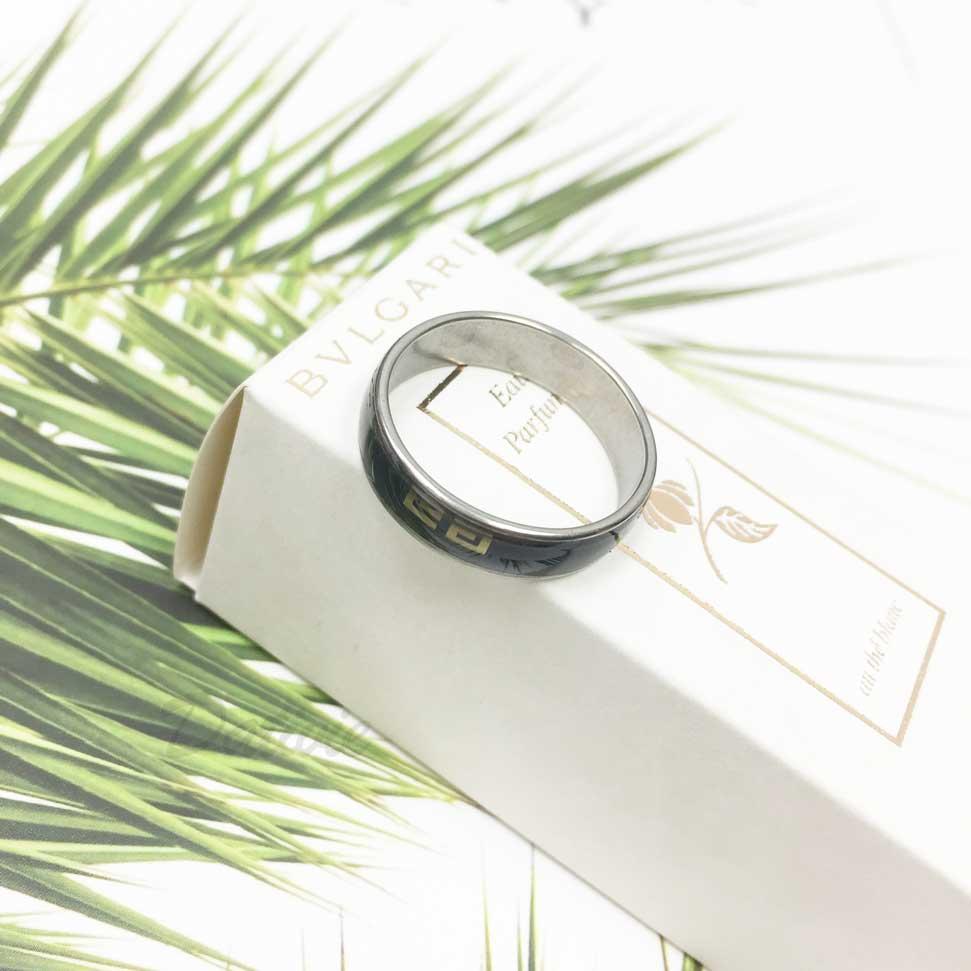 不鏽鋼 黑底 中國風 銀色 手飾 戒指