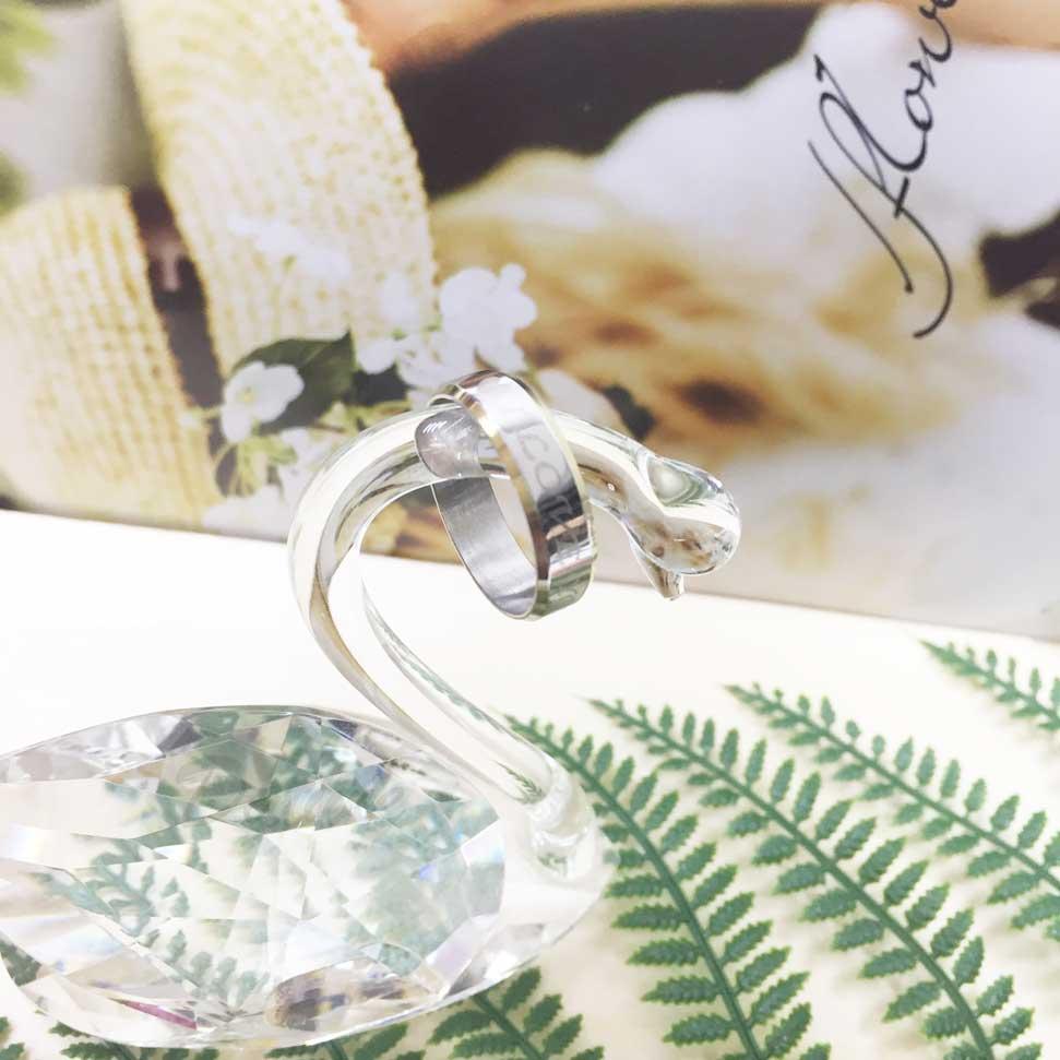 不鏽鋼 (我愛你) 印字 愛心 金邊 銀色 手飾 戒指