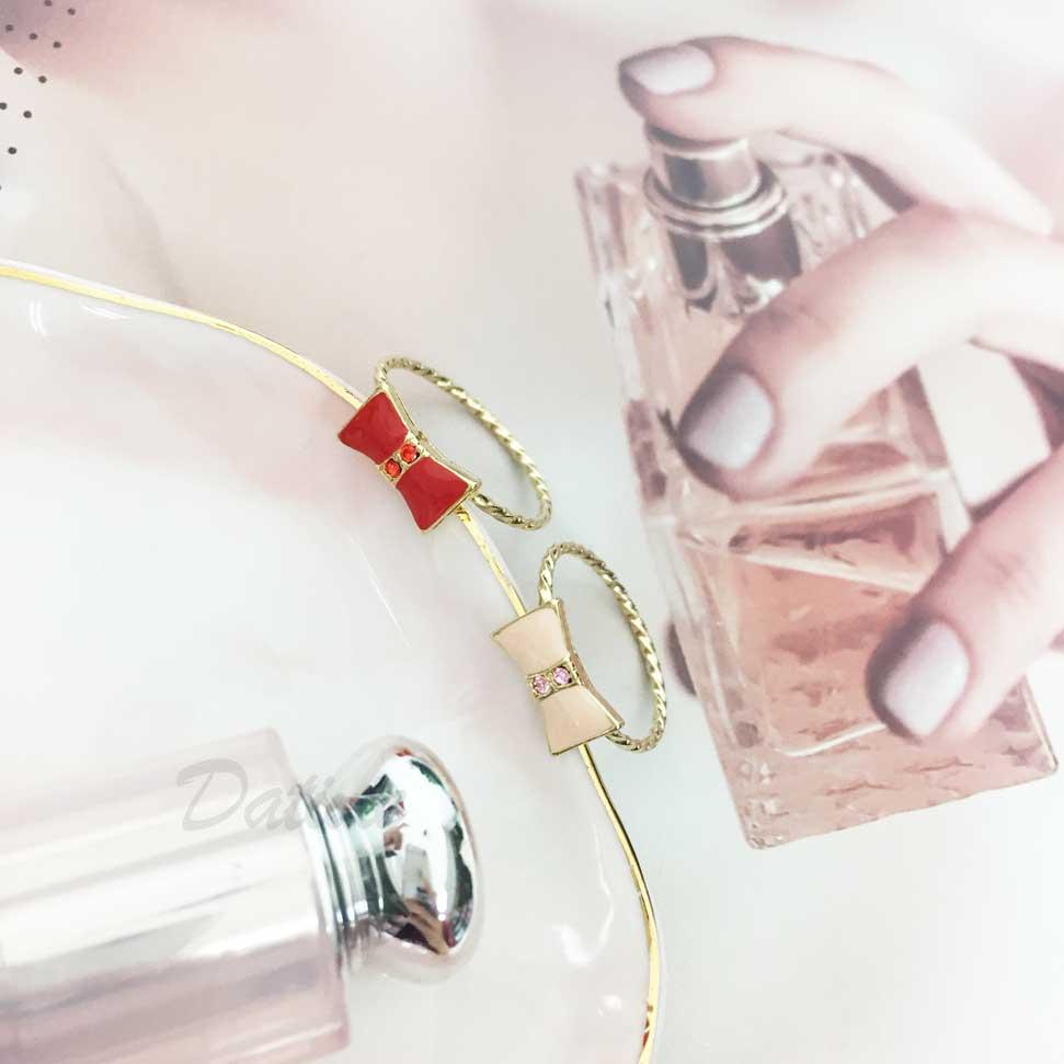 不鏽鋼 蝴蝶結 水鑽 可調節式 金色 手飾 戒指