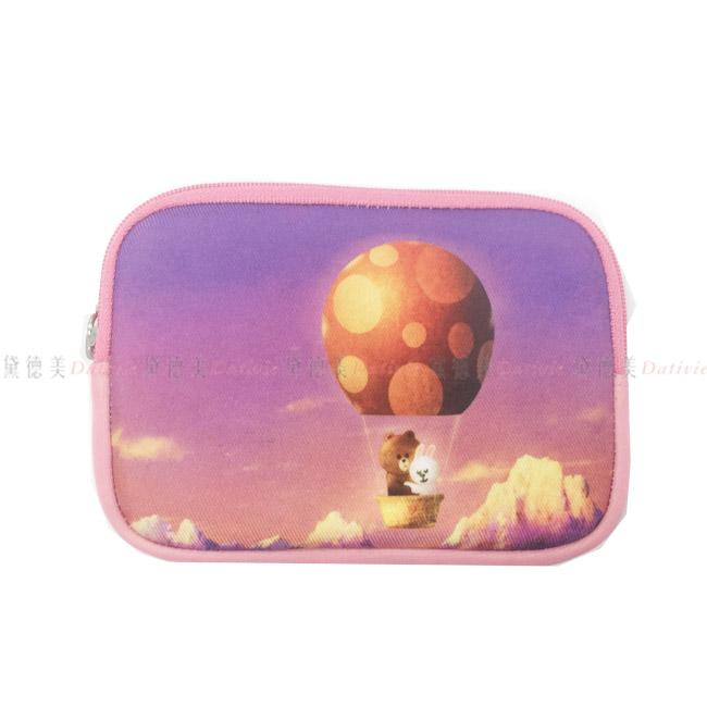 小零錢包 LINE 熊大 兔子 熱氣球 山 紫色 粉色 拉練 內裏 湖水綠 正版授權 日本進口