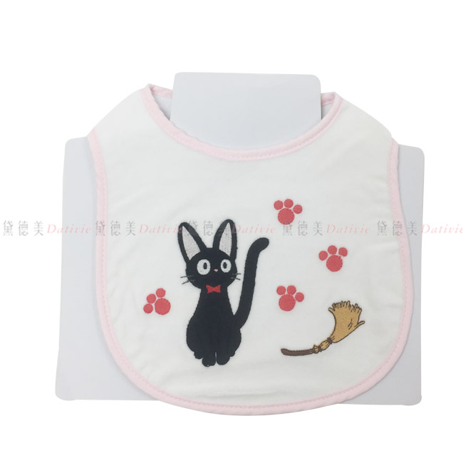 兒童圍兜 宮崎駿 黑貓宅即便 黑貓 貓腳印 掃把 粉色  氈黏式 正版授權