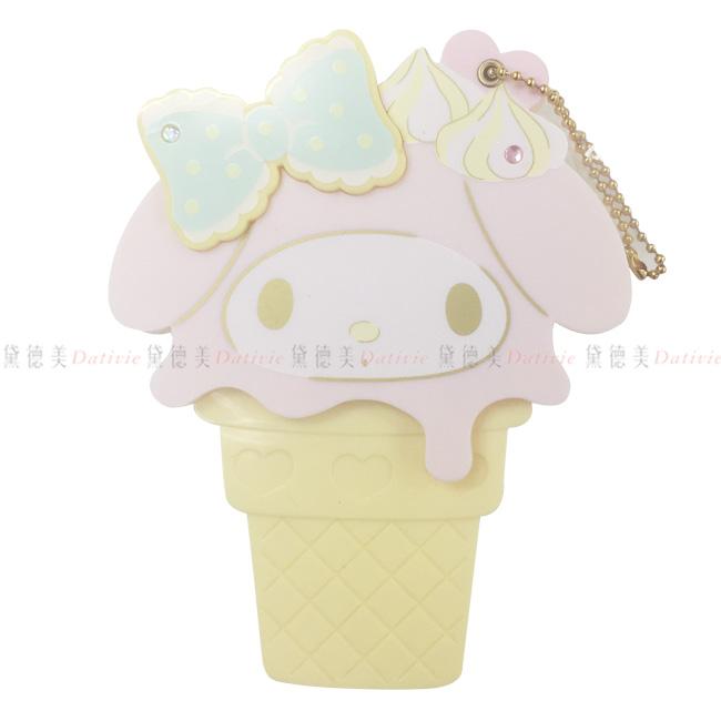 鏡子 美樂蒂 冰淇淋造型  隨身鏡 粉色 黃色 蝴蝶結 正版授權 日本進口