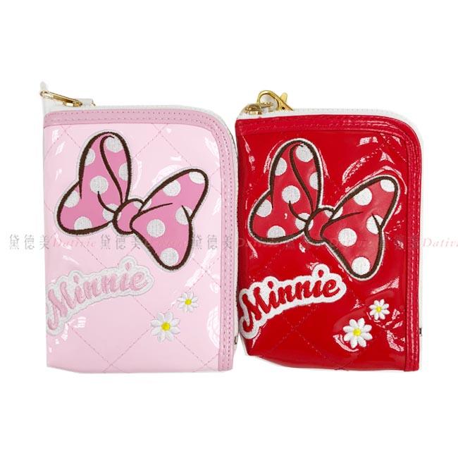 菱格票卡夾 米妮 迪士尼 粉色 紅色 票卡夾 正版授權 日本進口