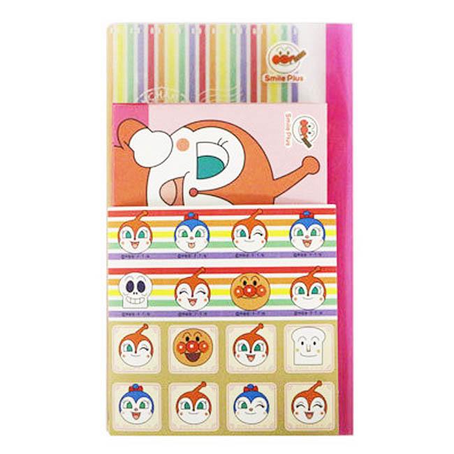 迷你信封  麵包超人 紅精靈 小精靈 粉色 咖啡色 信封各8入 附貼紙 彩虹信收收納夾各1入 正版授權 日本製造進口
