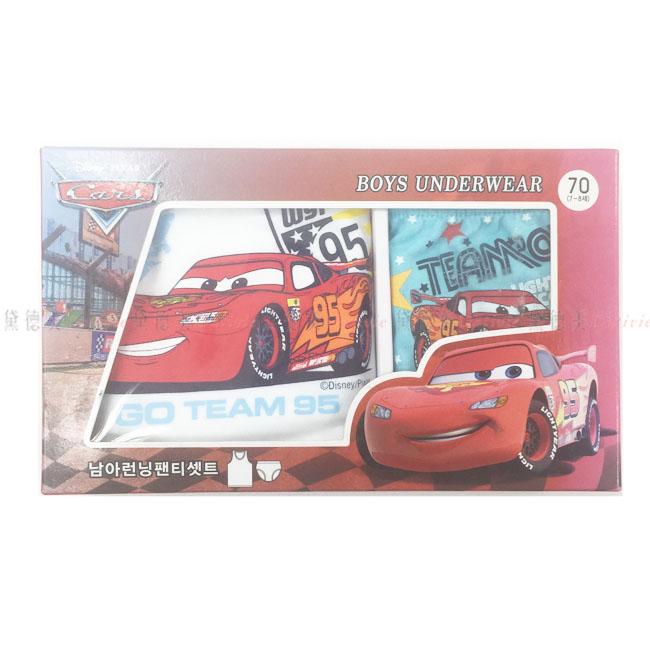 兒童內衣褲組 迪士尼 汽車總動員 麥坤 紅色 跑車 禮盒 尺寸 70 號 正版授權 韓國進口