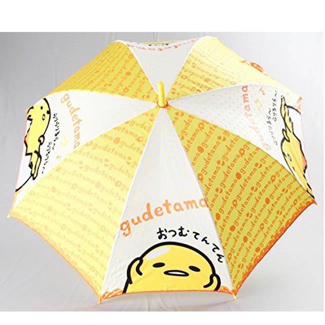 直傘 蛋黃哥 黃色 橘色英文字母 黃點點 雞蛋 鬼臉  扣式 正版授權 日本進口