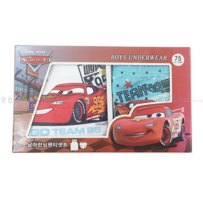 兒童內衣褲組 迪士尼 汽車總動員 麥坤 紅色 跑車 禮盒 尺寸 75號 正版授權 韓國進口